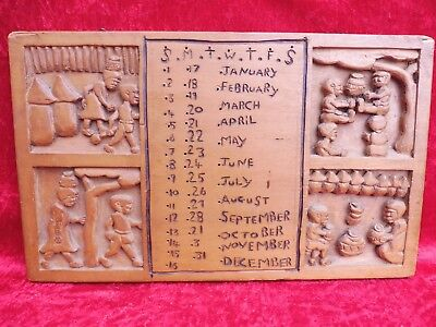 Pretty, Old Wood Picture__with Type Calendar __ Wood Carved __