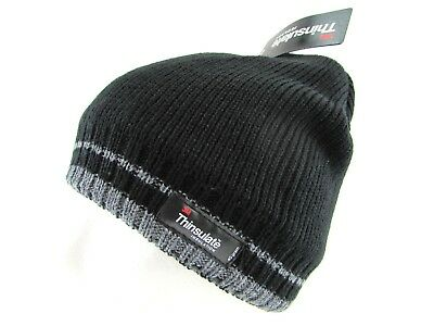 - Men Teen Junior 3M Thinsulate Black Knitted Fleece Lined Winter Hat Beanie