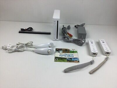 Nintendo Wii Sports Pack White Console - Controllers Cables - Ready to Play