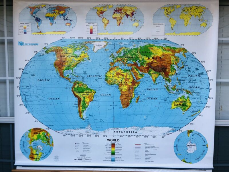 Nystrom - 1SR991 World & USA markable PULL-DOWN MAP