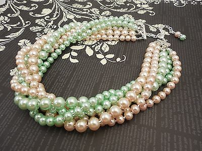 Multi Strand Choker Style Necklace with Blush Peach Pink and Mint Green Glass Pe - Peach And Mint Wedding