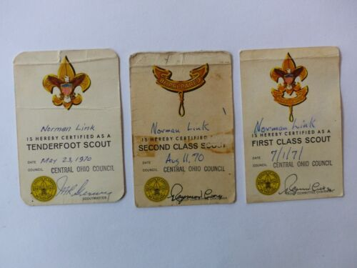 3 Used Vintage 1970 1971 Boy Scout BSA Rank Cards TF SC FC  Central Ohio Council