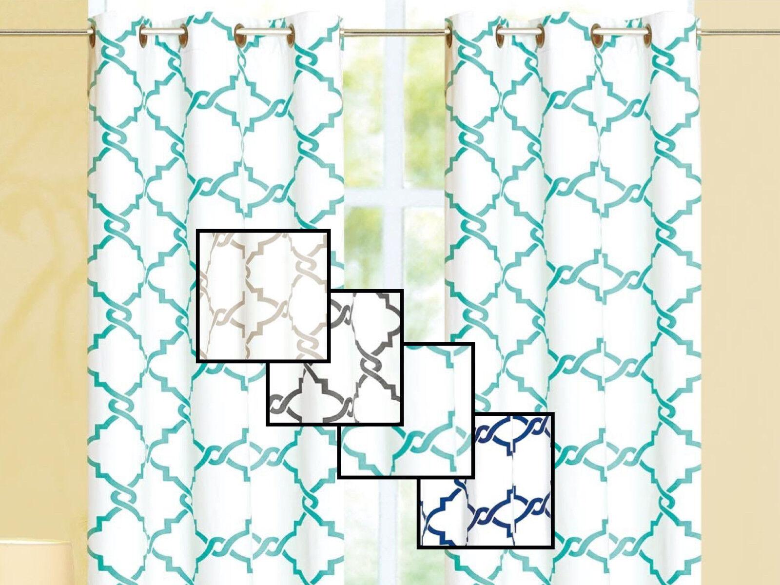 Geometric 100% Thermal Blackout Grommet Window Curtain Panel