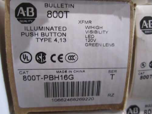 NEW ALLEN BRADLEY 800T-PBH16G PUSH BUTTON