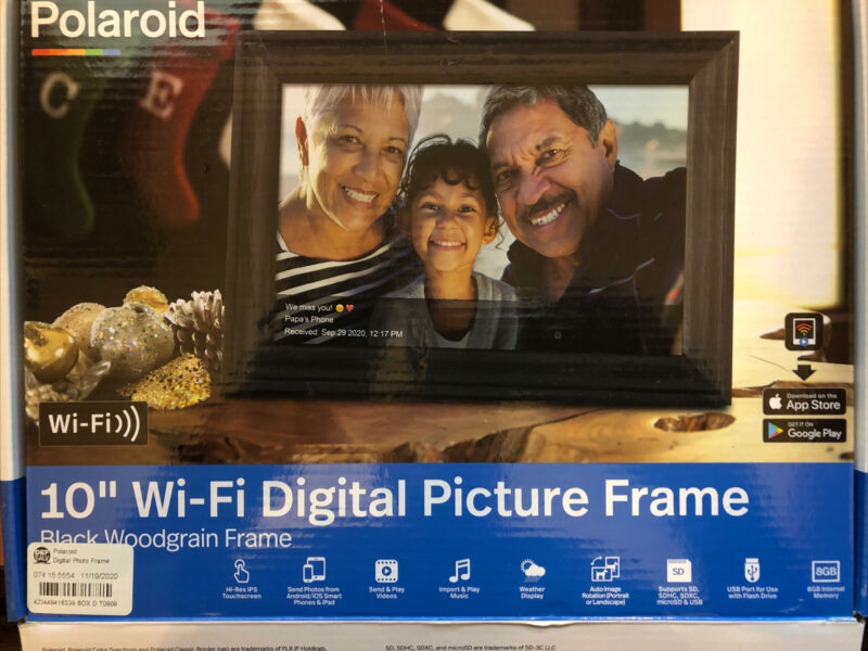 "10"" WiFi Digital Photo Frame Black Wood Grain Frame - Polaroid"