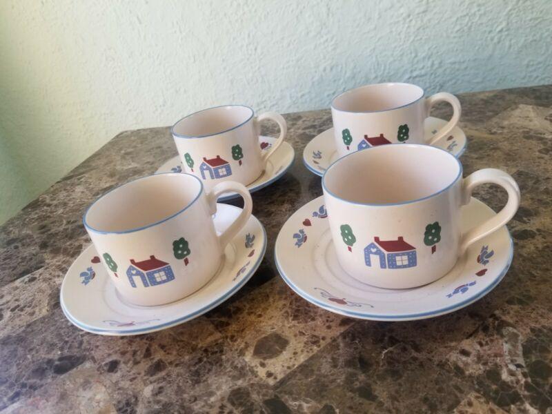 International China Farmhouse Stoneware 4 Coffee Cups Saucers Japan