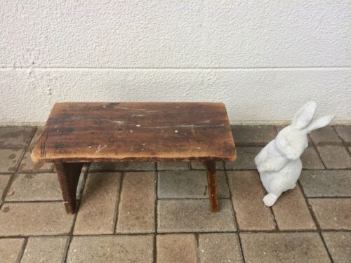 Vintage Antique Primitive Wood Bucket Bench Plant Stand Mud Room Country Milking