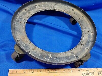 Antique Industrial Round 4 Wheel Dolly Cart Furniture Mover Lab Gas Air Tank