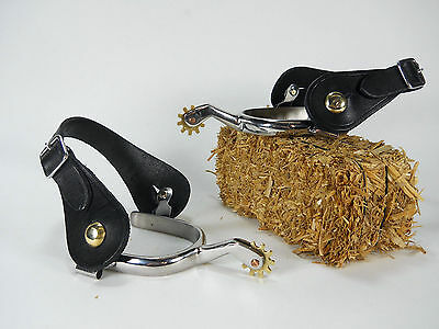2 pc set Stainless Spurs w/ black leather straps mens western cowboy horse