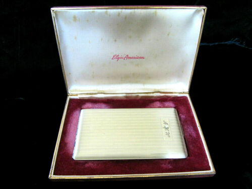 Vintage Elgin American Sterling Silver Cigarette Case in Fitted Box