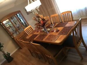 Dining set 8 chairs, solid table and hutch. -moving sale