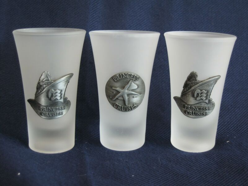 3  Princess Cruises Frosted Shot Glasses NEW