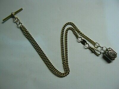 Silver Vintage 925 double Albert pocket watch chain, T-bar lobster Silver Fob