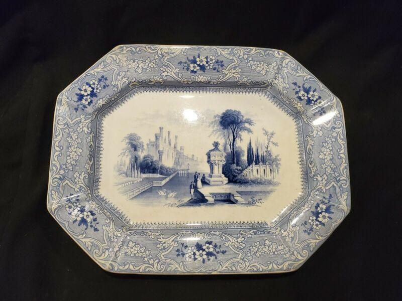 Antique Blue Transferware Platter- Water Scene-14 (j1)