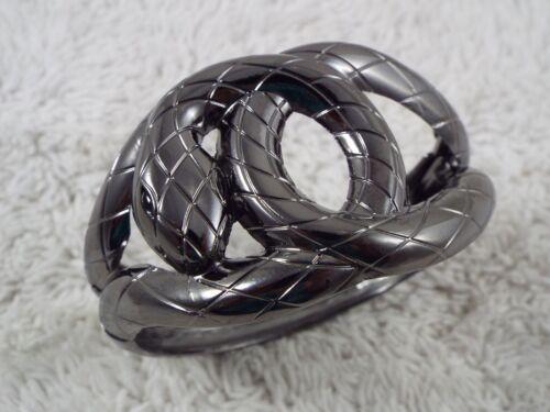 Coiled SNAKE Gunmetal Hinged Clamper Bracelet (A20)