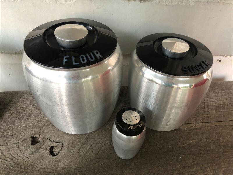 MCM Midcentury Vtg Kromex Spun Aluminum Flour Sugar Jar  Canister Silver Knob