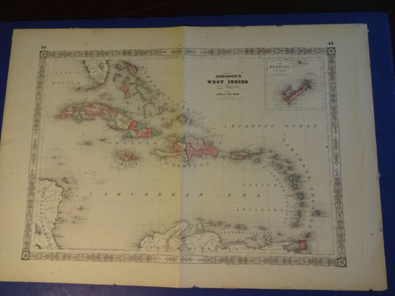 1864 Nice Hand-Colored Map of West Indies by Johnson and Ward