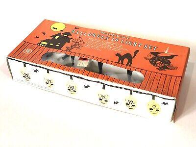 Vtg Set Decorations Electric Skull Light Up Blow Mold Skeleton Rare Box NOS OLD