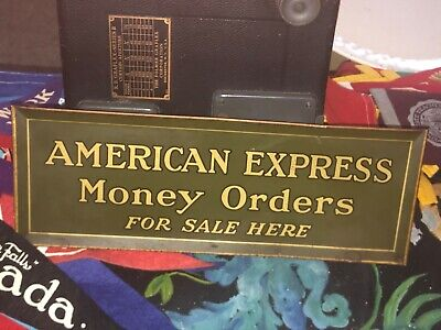 1947 AMERICAN EXPRESS MONEY ORDERS FOR SALE HERE TIN SIGN Vintage Authentic RARE
