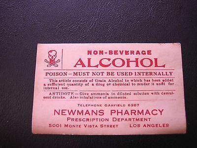 VTG Non-Beverage Alcohol Poison Newmans Pharmacy Gummed Back Paper Label Rx