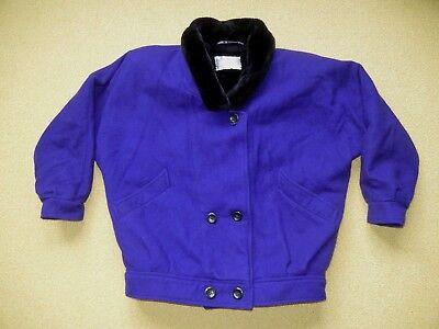 Purple Winter Coat - Vtg INTERNATIONAL SCENE Bright Purple Warm WOOL WINTER JACKET Coat Women SIZE 10