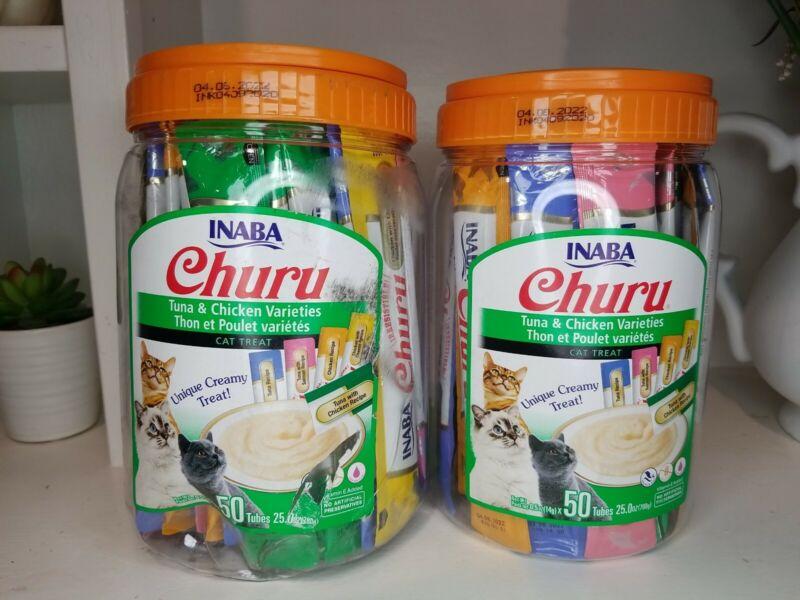 Lot of 2 Churu Lickable Puree Cat Treats - Tuna Chicken Varieties - 50 tube jar