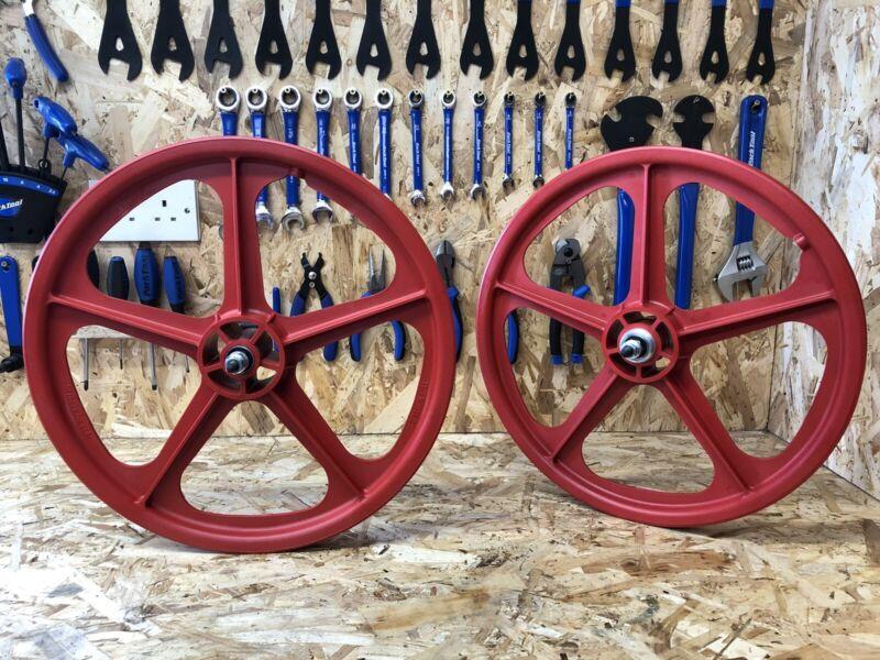 "Skyway Tuff 20"" BMX Mag Wheels, RED, Retro, Freestyle, Old School, Mid School."