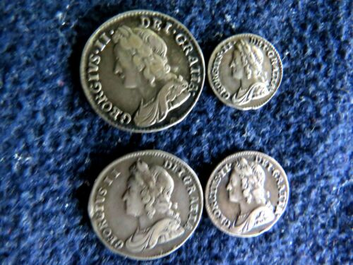 HIGH GRADE 1743 Great Britain George II Maundy Silver 4 Coin Set