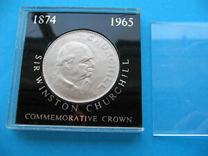 BRILLIANT UNCIRCULATED CASED SIR WINSTON CHURCHILL QE II 1965 CROWN 1874-1965