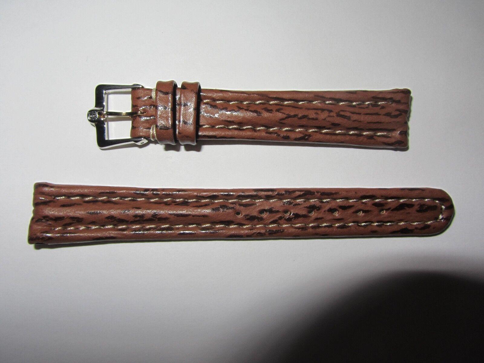 Original Michel Herbelin Damen Uhrenarmband Haifisch Braun 14 mm gepolstert