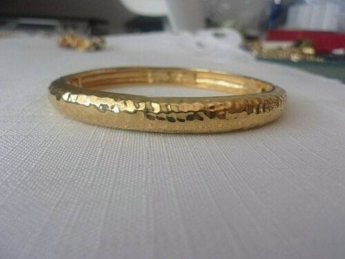 Nolan Miller Hammered Gold Tone Bangle Bracelet