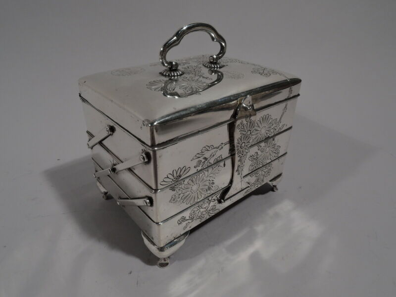 Antique Box - Tiered Jewelry Keepsake Casket - Japanese Silver - Meiji C 1920
