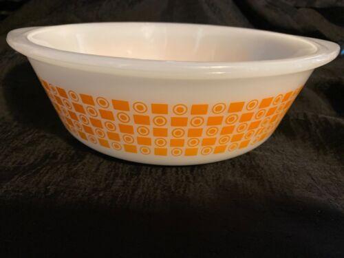 Rare Glasbake 2 Qt (Quart) Casserole Baking Dish Orange Squares/Circles Serving