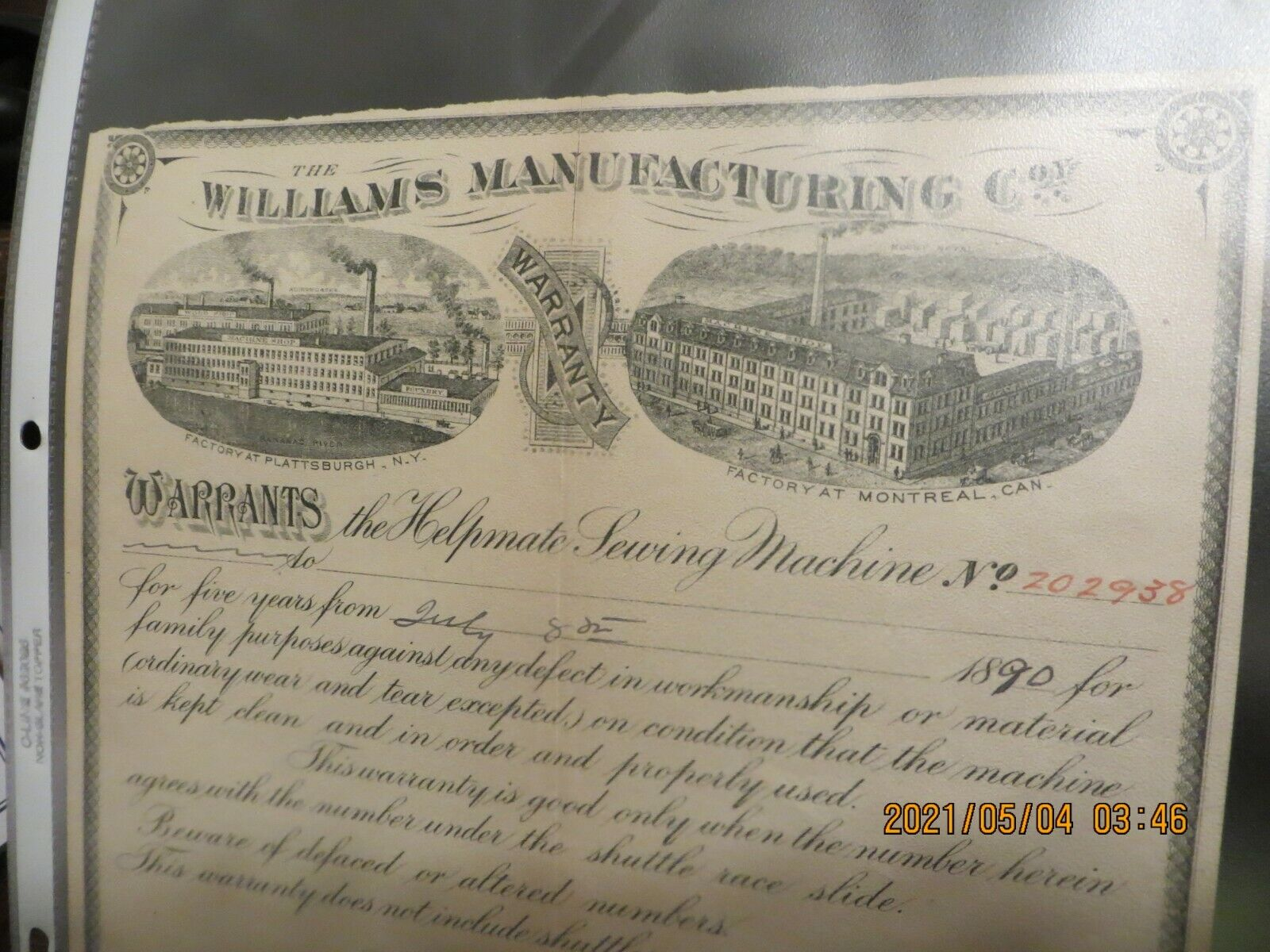 1890 Document-The Williams Manufacturing Co Warranty-Helpmate Sewing - $29.99