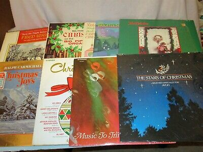 Lot 12 total Christmas Vinyl LP (various artists sets) in 8 Jackets & 1 Box