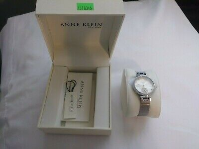 Anne Klein Women's 12/2309SVSV Crystal Accented Silver Tone Mesh Band Watch