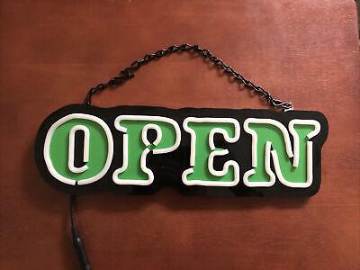 Open Sign Led Green White Bar Restaurant Business Dimmer Never Been Used