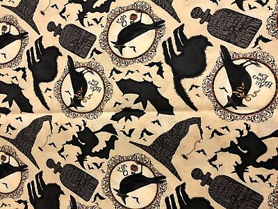 Spooky Halloween Come Sit A Spell Witch Potion Black Cat Bats Crows Fabric BTHY