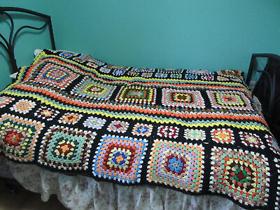 Vtg Hand Made Granny Square Afghan Throw Blanket Black Bright Multi Color 60X78