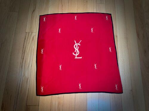 VINTAGE YSL Yves Saint Laurent Silk Scarf Red w/ ivory logo