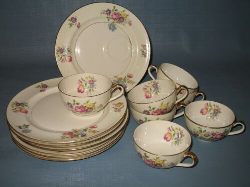6 Shenango China luncheon plates and cups