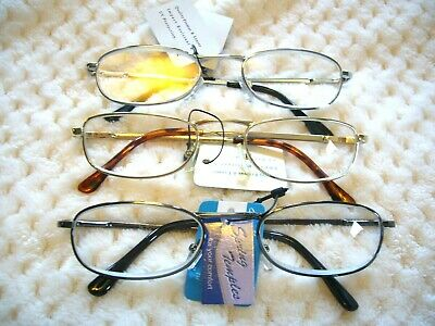 READING GLASSES KIDS OR ADULTS SMALLER SPRING HINGE GR8 METAL R240(1.00 - 4.00) (Youth Reading Glasses)
