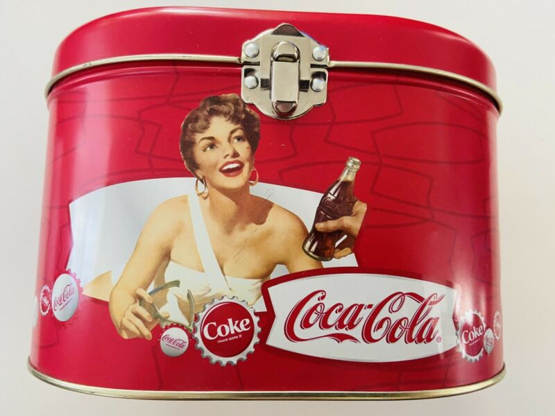 Coca Cola Tin Lunchbox With Handle And Pretty Lady - Great Imagery