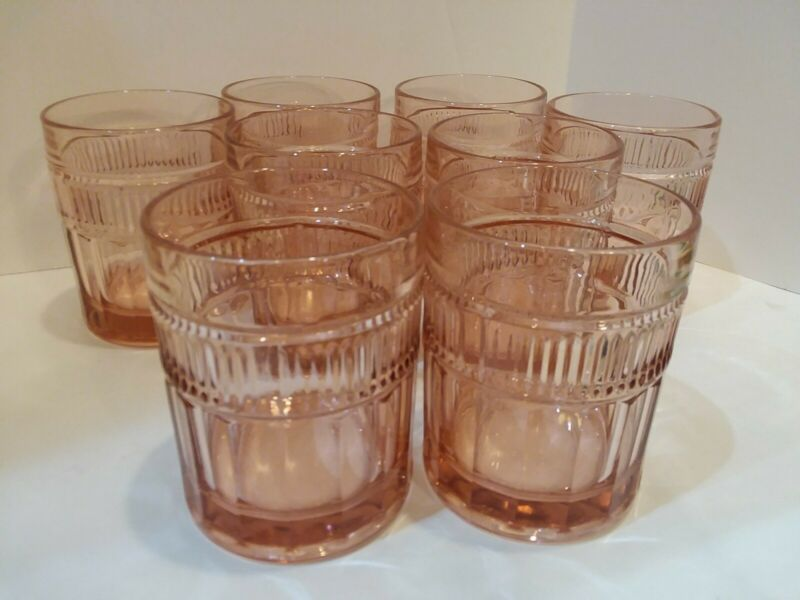 "Anchor Hockng VTG 8 pc.Double Old Fashioned ""Annapolis Rosewater"" 12oz Bar Ware"
