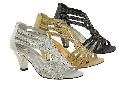 LADIES HIGH BLOCK HEEL PEEP TOE ANKLE BACK STRAP  PARTY SANDAL UK SIZES 3-8 Heel Peep Toe Sandale