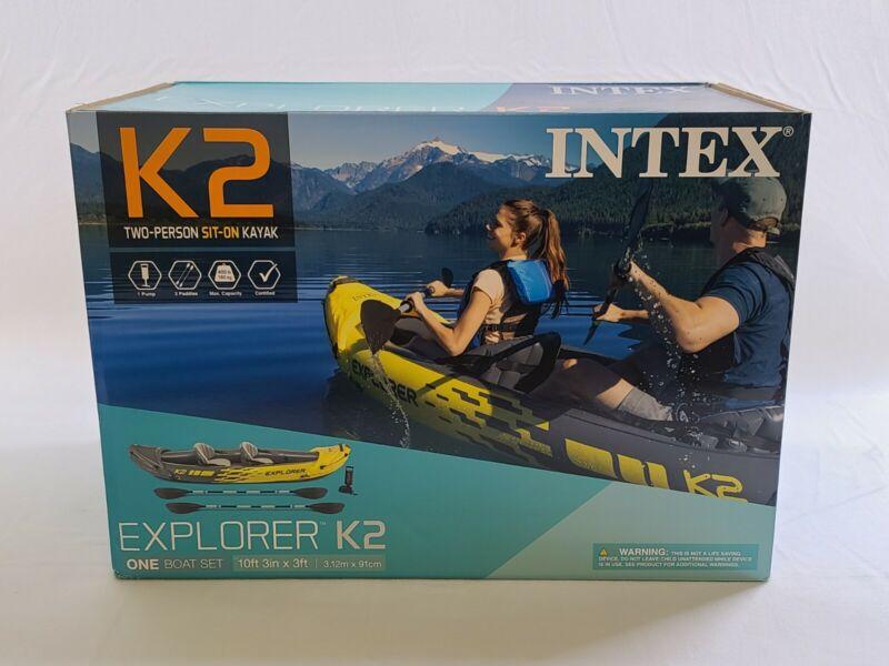 Intex Challenger K2 2 Person Kayak w OARS + PUMP 🔥SHIPS IMMEDIATELY IN HAND🔥