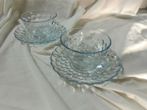 Set of 2SAPPHIRE Blue Bubble Depression Glass Cup & Saucer- Anchor Hocking