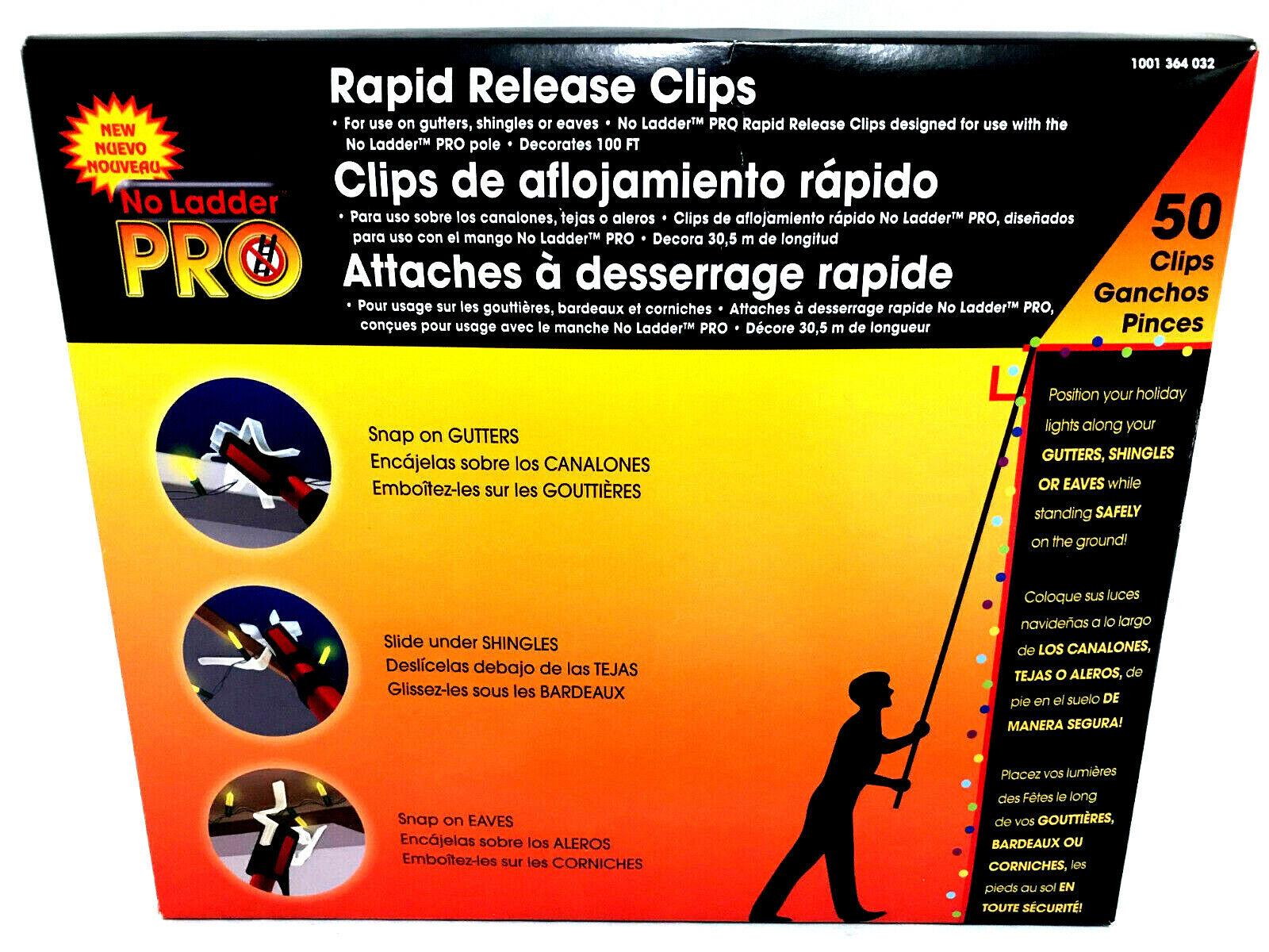 No Ladder Pro Rapid Release 50 Clips Snap On Gutters Shingle