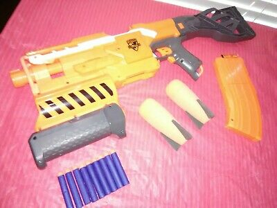 Nerf N Strike Elite DEMOLISHER 2 In 1 with 2 27mm Missiles 9 darts 1 Clip AWESOM