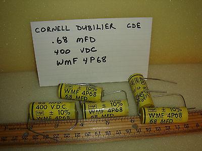 Lot 5(pcs) CDE .68 MFD 400 VDC capacitor WMF4P68 vintage NOS Cornell Dubilier
